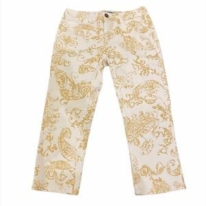 DONATE Chaps Cropped White/Gold Paisley Jeans 2